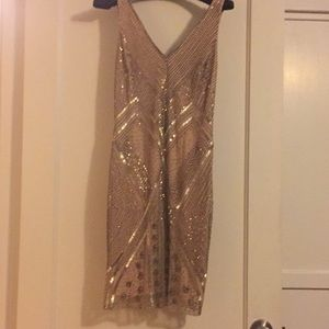 Adrianna Papell sequined beaded cocktail dress.